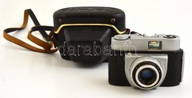 Beier Beirette fényképezőgép Meritar 1:2,9/45 mm objektívvel, eredeti tokjában, hibás zárszerkezettel