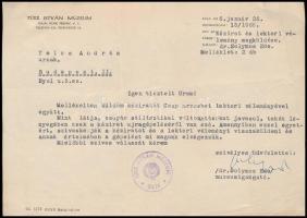 1966 dr. Solymos Ede (1926-2008) néprajzkutató, a bajai Türr István Múzeum igazgatójának aláírása a múzeum fejléces papírján