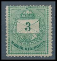 1874 3kr kékeszöld 13-as fogazással, Ferchenbauer szignóval R! (18.000)