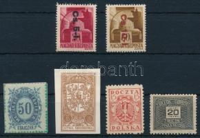 1946 Betűs Cs. 5-I./30f + Cs. 10-I.80f (16.000) + 4 klf egyéb bélyeg (az egyik falcos)