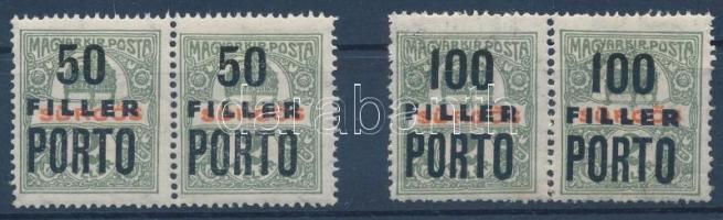 1918 Szakirodalomban ismeretlen szükségportó pár Sürgős bélyegek felülnyomásával 50f és 100f R!