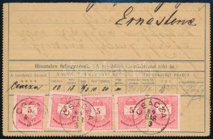 1889 Távírda alsó fele 5 x 5kr CSÁCZA R!