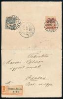1900 febr. 11. Krajcár-Turul vegyes bérmentesítésű ajánlott távolsági levél 5kr + 25f tarifahelyes bérmentesítéssel, kiállítási darab