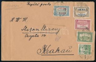 1918 Repülő posta sor légi levélen BUDAPEST - Krakkó