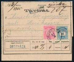 1880 Ménesbirtok igazgatóságának ajánlott távirat előlapi 10kr + 5kr bérmentesítéssel (hajtott, megtört bélyegek)