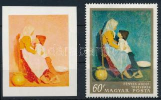 1967 Festmények III. 60f vágott bélyeg fázisnyomata kék, arany és fekete színnyomat nélkül. A szakirodalomban ismeretlen. / Mi 2370, gold, blue and black colour prints omitted. Not mentioned in the philatelic literature. Certificate: Glatz