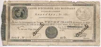 Franciaország / Rouen 1797-1803. 20Fr annulé (érvénytelen) felülbélyegzéssel T:IV France / Rouen 1797-1803. 20 Francs annulé (cancelled) C:G  Krause S245a
