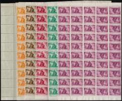 1945 Újjáépítés 7 különféle teljes ív, mindegyikben 10 fordított pár (min. 22.000) / Mi 822, 824, 827, 830, 832-834 complete sheets, all with 10 tete beche pairs