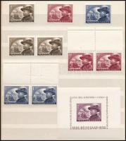 1950 Bem sor + 40f pár + 60f és 1Ft párok felül üres mezőkkel + blokk (17.300)