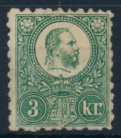 1871 Réznyomat 3kr eredeti gumival, enyhe falcnyommal (27.500)