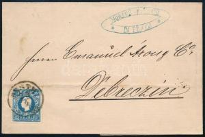 1859 15kr I típus levélen ,,PESTH - ,,DEBRECEN (13.000)