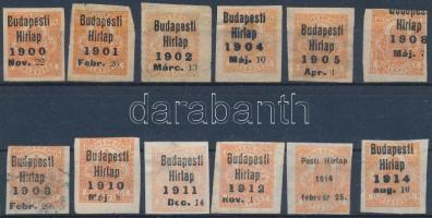 1900-1914 12 db előérvénytelenített Hírlapbélyeg