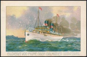 1914 Visegrád kétcsavaros tengeri személyszállító gőzhajó / Eildienst von Fiume nach Dalmatien. Doppelschraubendampfer Visegrád / Hungarian twin screw sea-going passenger steamer, litho + CATTARO-FIUME TENGERI POSTA