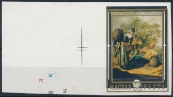 1969 Festmény ívszéli vágott 60f az arany színnyomat látványos eltolódásával