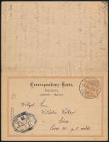 1895 Osztrák válaszos díjjegyes levelezőlap (szlovén nyelvű) ,,GÖRZ BAHNHOF bélyegzéssel Budapestre, a válaszlap felhasználásával 1896-ban a teljes lap visszaküldve