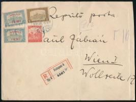 1918 Repülő posta 2 x 1,50 K + kiegészítő bérmentesítés ajánlott légi levélen Bécsbe garancia nélkül