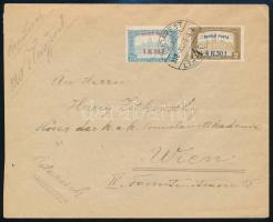 1918 Repülő posta sorral bérmentesített légi levél Bécsbe, garancia nélkül
