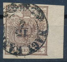 1850 6kr HP III. lemezhibás bélyeg 7 mm ívszéllel NAGY-KANI(SA)