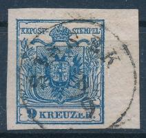 1850 9kr HP III. lemezhibás bélyeg 7 mm ívszéllel SISSEK
