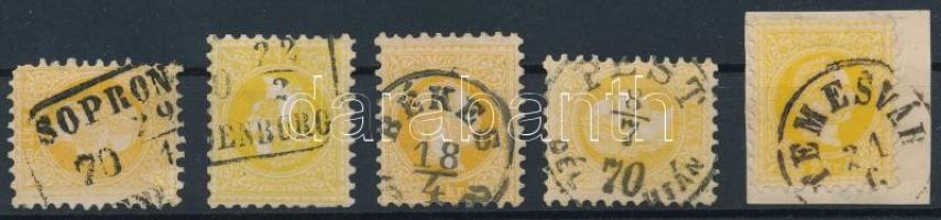 1867 5 x 2kr különféle színárnyalatok, szép/olvasható bélyegzések