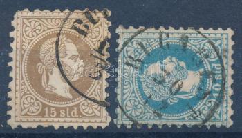 Magyar Posta Romániában 1867 10sld BUCAREST + sarokhibás 15sld BUC(AREST) (77.000)
