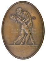 Bakonyi Sándor (1892-1937): Faun és nimfa 1922. Bronz falikép, jelzett, 20,5×15 cm
