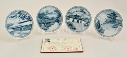Kínai dísztányér készlet (4 db), levonóképes, jelzett (Jingdezhen), hibátlan, eredeti dobozában, leírással, d:14,5 cm (4×)