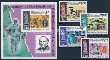 Rowland Hill's death anniversary set + block, Rowland Hill halálának 100. évfordulója sor + blokk