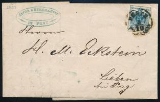 1857 9kr levélen ,,PESTH