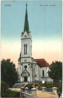 Ruttka, Vrutky; Római katolikus templom, kis híd / Catholic church, bridge (Rb)