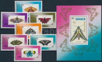 Butterflies set + block, Lepke sor + blokk
