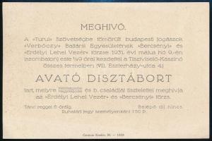 1931 Turul szövetségbe tömörült jogászok dísztáborába szóló meghívó