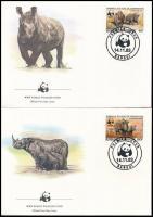 WWF Rhinos set 4 FDC, WWF Orrszarvúk sor 4 FDC