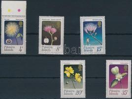 Flowers and fruits set, Virágok és gyümölcsök sor, közte ívszéli bélyeg