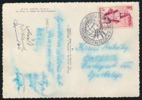 1954 Magyar kajakozó válogatott tagjai által aláírt képeslap a maconi világbajnokságról Wieland Károly, Sasvári, Halmai, Csonka és mások