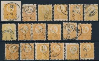 1871 Réznyomat 18 x 2kr, benne sok színváltozat, bélyegzések (~ 38.000)