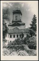 Papp Kálmán (1886-1966) győri megyés püspök saját kézzel aláírt köszönő lapja győri templomot ábrázoló fotó hátulján
