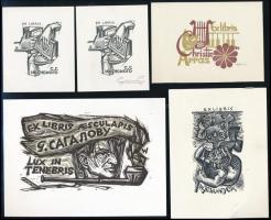 9 db különféle technikájú részben jelzett külföldi ex libris / 9 worldwide ex libris bookplates. Different techniques
