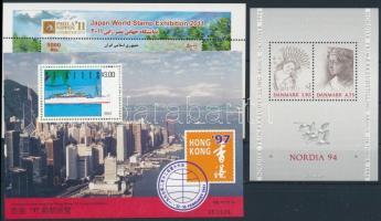 Stamp Exhibition 1992-2011 3 blocks, Bélyegkiállítás motívum 1992-2011 3 klf blokk