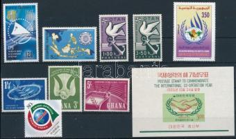 International organizations 1960-2007 1 block + 2 sets + 4 stamps, Nemzetközi szervezetek motívum 1960-2007 1 blokk + 2 klf sor + 4 klf önálló érték