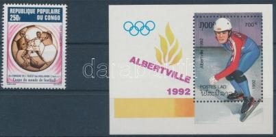 Sport 1974-1992 1 block + 1 stamp, Sport motívum 1974-1992 1 blokk + 1 önálló érték