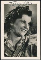 Turay Ida (1907-1997) színésznő aláírása őt ábrázoló fotón