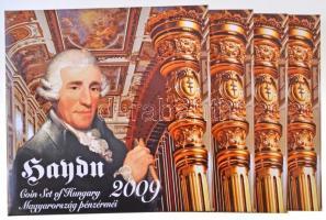 2009. 5Ft-200Ft Haydn (7xklf) forgalmi érme sor, benne Joseph Haydn Ag emlékérem (12g/0.999/29mm) (4x) T:PP Adamo FO43.4
