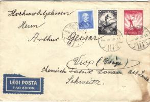 1933 Légi levél Svájcba Arcképek 4f+ Repülő 20f és 48f bérmentesítéssel (foltos)