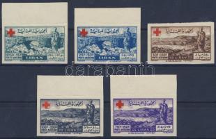1947 Vöröskereszt vágott légiposta sor / Red Cross imperforate airmail set Mi 377-381