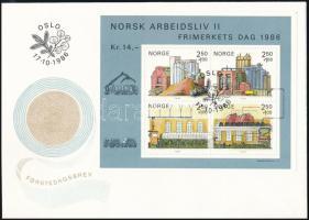 Stamp Day: The Norwegian Business Life block FDC, Bélyegnap: A norvég szakmai élet blokk FDC-n