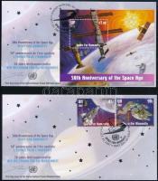 Space Exploration set + block 2 FDC, Űrkutatás sor + blokk 2 db FDC-n