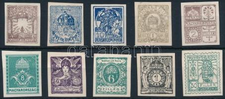 Korona-fillér bélyegtervek 10 különféle nyomata. Rendkívül ritka!!