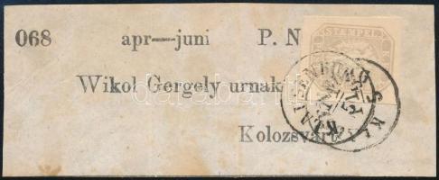 """Hírlapbélyeg újságcímzésen ,,KLAUSENBURG"""", Newspaper stamp ,,KLAUSENBURG"""""""