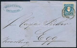 """~ 1860 15kr II on cover ,,PRESSBURG"""" - ,,WIEN"""" - Egg, ~ 1860 15kr II levélen ,,PRESSBURG"""" - ,,WIEN"""" - Egg"""